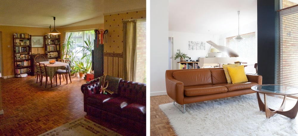Lounge before and after