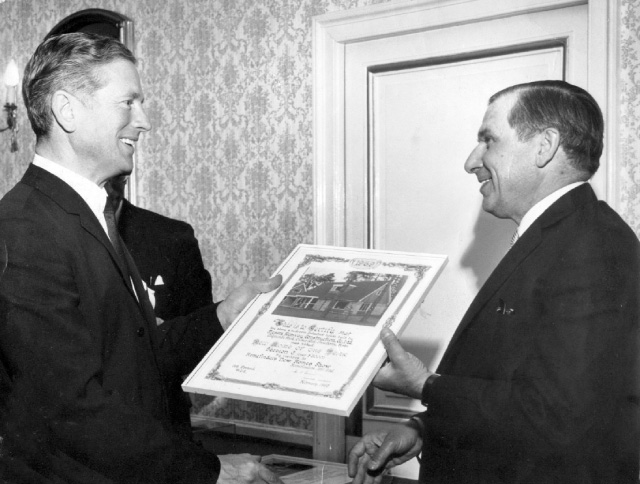 Athelstan Whaley receives the Civic Trust Award, 1969 for his work at Edgcumbe Park
