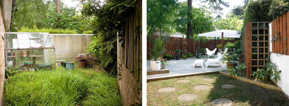 Side Garden before and after